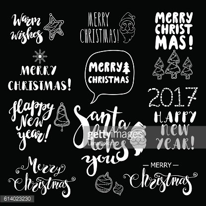 Set of Christmas and Happy New Year lettering