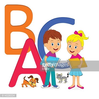 boy and girl with book on the white background