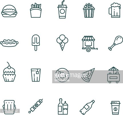 Fast food and snack thin line vector icons set