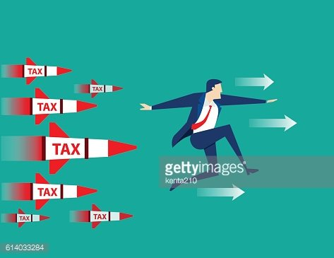 Businessman running away from rocket tax. Concept business illus