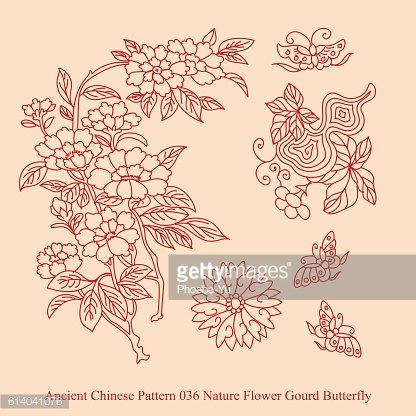 Ancient Chinese Pattern_036 Nature Flower Gourd Butterfly