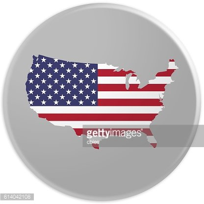 Glossy USA Map Badge US Flag With Copyspace, 3d illustration