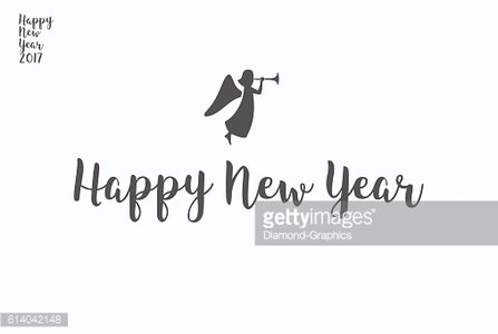 Happy New Year lettering typography. Handwriting text design wit