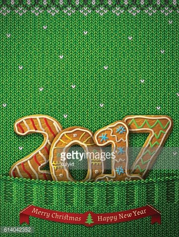 New Year 2017 in shape of gingerbreads in knitted pocket