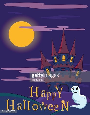 Vector Halloween background with spooky castle