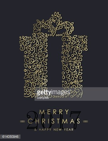 Gold Christmas and new year ornamental gift design