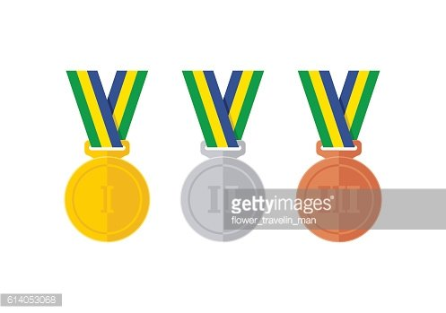 Flat style abstract medal icons