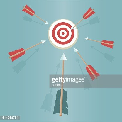 six arrow fly in the middle of the target