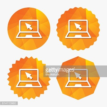 Laptop sign icon. Notebook pc with cursor symbol.