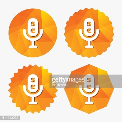 Microphone icon. Speaker symbol. Paid music sign.