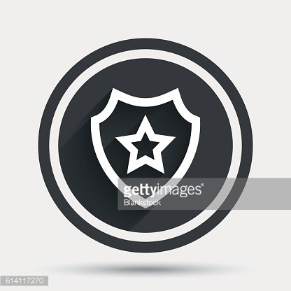 Shield with star icon. Favorite protection.