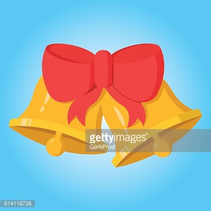 Merry christmas two bells with ribbon simple color flat icon