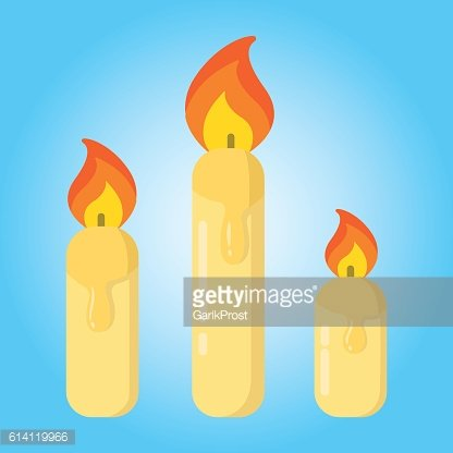 Merry christmas candles simple color flat icon