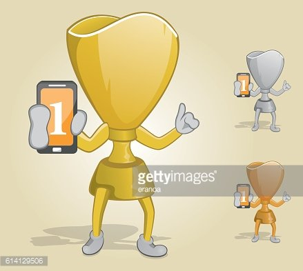 Trophy Holding Mobile Phone