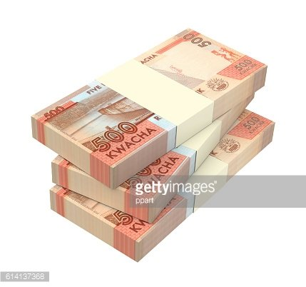 Malawi kwacha bills isolated on white background.