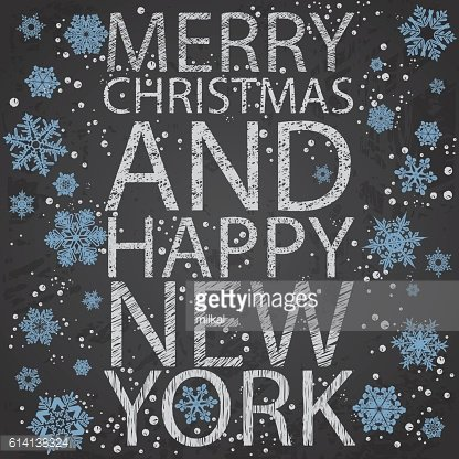 Chalkboard greeting card for Christmas in New York