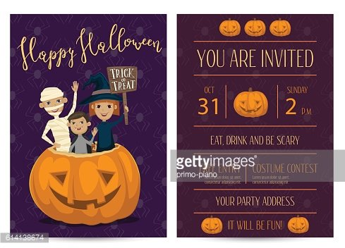 Halloween party invitation design with kids