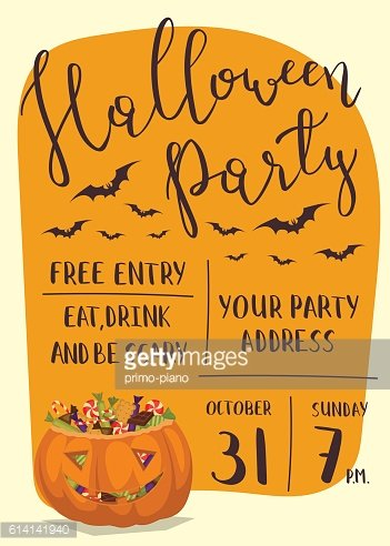 Halloween party invitation with scary pumpkin