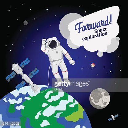 Astronaut floating in outer space icon