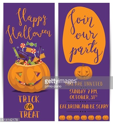 Halloween party flyers with scary pumpkin