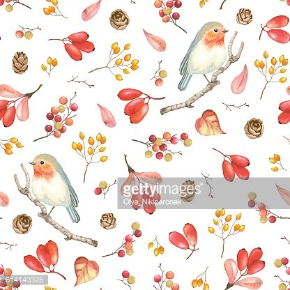 Seamless autumn pattern with bird Robin, berries and cones.