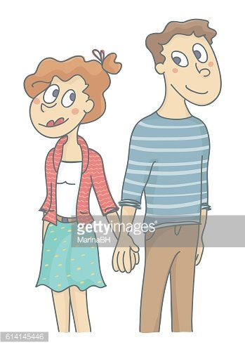 Young couple in love, standing and holding hands
