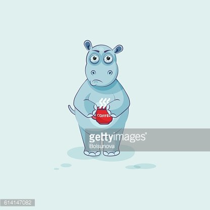 Emoji Character Cartoon Hippopotamus Nervous With Cup of