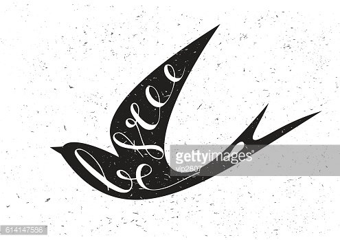 Stylized silhouette swallow with motivation quote Be free.