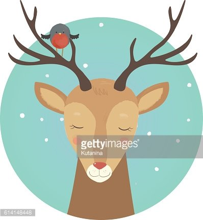 Vector deer drawing on the grey background