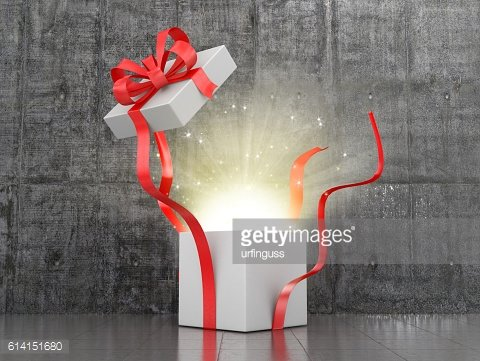 Open gift box from which comes the glow.