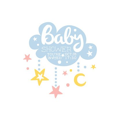 Cloud baby shower. And stars invitation design