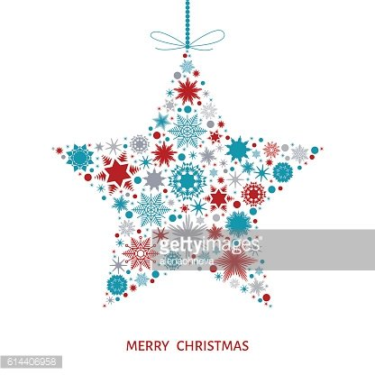 Christmas card with star with red, blue and gray snowflakes.