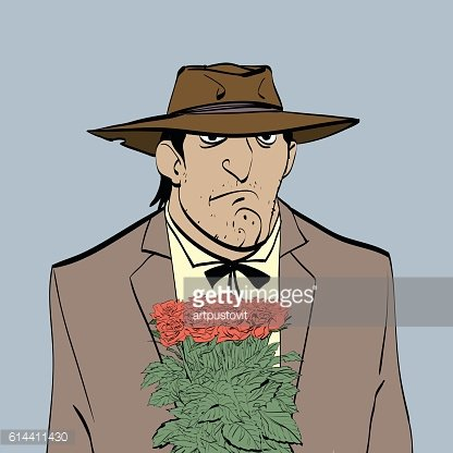 Retro male Hispanic with a bouquet of flowers