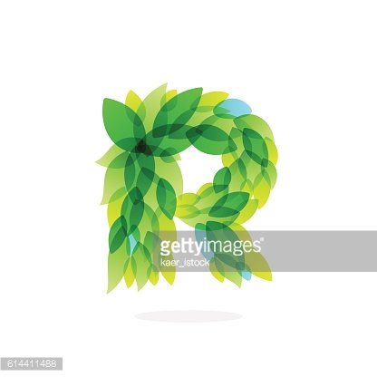 R letter icon formed by watercolor fresh green leaves.