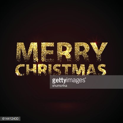 Christmas Card Gold Sparkles on Black Background. Glitter and Calligraphy