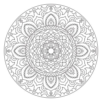 Round Outline Mandala For Coloring Book Clipart Image