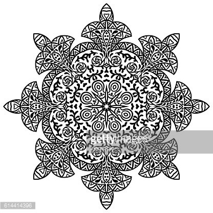 Indian ethnic round ornament. Mandala. Hand drawn henna tattoo decorative