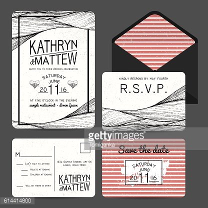 wedding invitation set with rsvp card. wavy and stripy ornament.