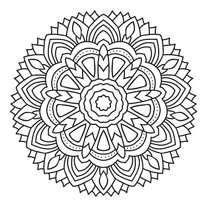 Vector Mandala Coloring Isolated On White Premium Clipart