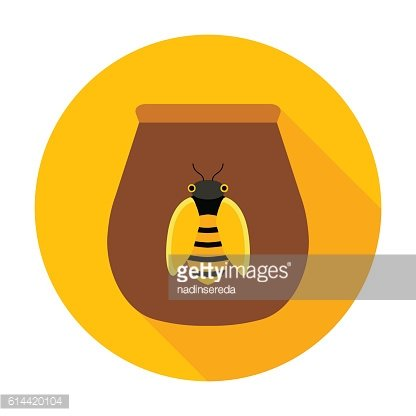 Honey jar with bee circle icon