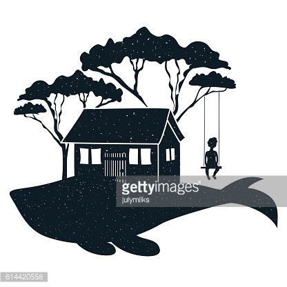 Whale, house, boy silhouette on a swing and trees.