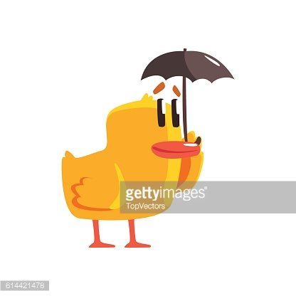 Duckling With Umbrella Cute Character Sticker