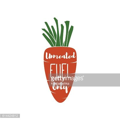 Vegatable Fuel Only - Cocept. doodle - Carrot. Vector Illustration
