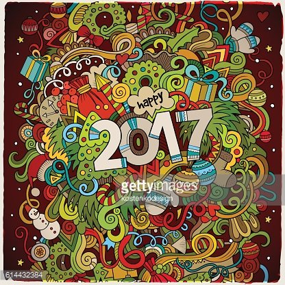 Cartoon cute doodles New Year illustration