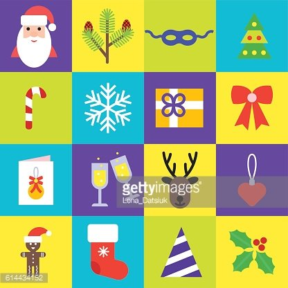 Christmas icons collection. Set of new year isolated symbols in