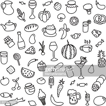 Set of 55 icons on the theme of food