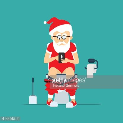 Santa Claus hipster in toilet