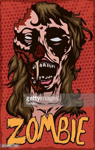 Poster with Zombie Female in Pop Art Design