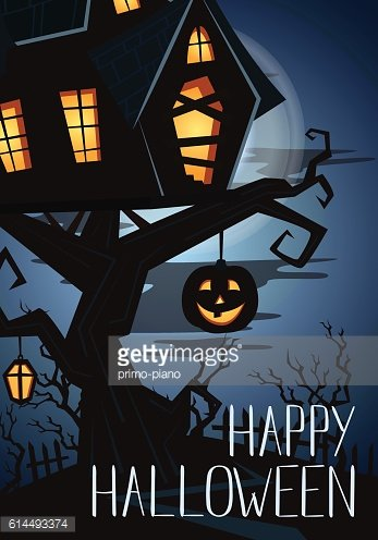 Happy Halloween party banner with spooky castle
