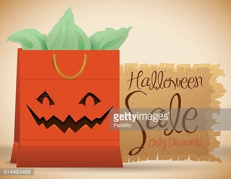 Poster with Smiling Halloween Bag for Halloween Sale